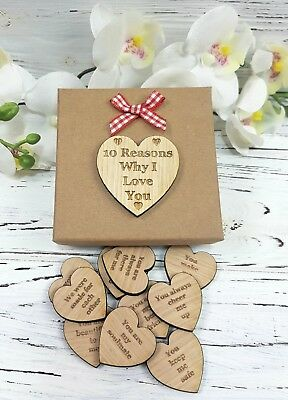 10 Reasons Why I Love You - Personalised Valentines Gift - Romantic Wooden Heart • 7.95£