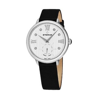 Eterna Women's Eternity White Diamond Dial Black Quartz Watch 2801.41.96.1408 • 143.99£