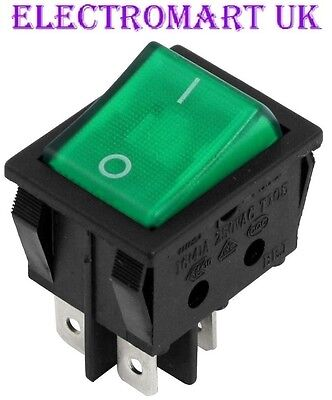 Dpst Illuminated Neon Green Rocker Switch On Off 16 Amp 240 Volt Ac • 3.98£