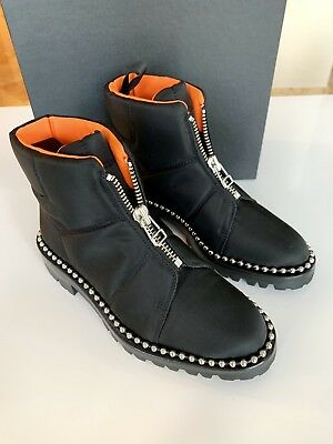 AU701.77 • Buy Alexander Wang Cooper Canvas Black Pull On Zip Studded Ankle Booties Boots 6.5