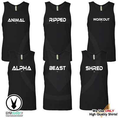 $12.95 • Buy Gym Rabbit Men's Bodybuilding Sleevless Tank -Printed Fitness & Workout Clothing