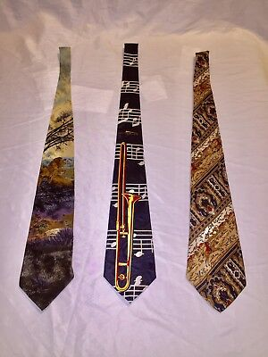 Lot Of 3 Vintage Unique Mens Silk Neckties Tie Trombone Lion Hunting Dogs Horses • 16$