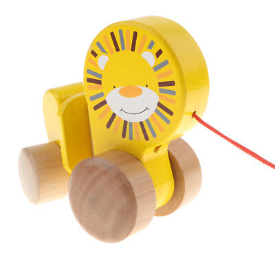Wooden Pull Toy Push And Pull Lion Pull Along Walking Toy For Baby Toddler • 13.10£