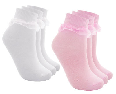 3 Pairs Girls School Socks Frilly Lace Ankle Socks Baby Girls Cotton Sock 3 PACK • 3.99£