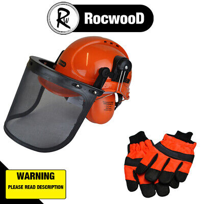 £26.57 • Buy RocwooD Chainsaw Helmet Hard Hat And Small Size 8 Gloves