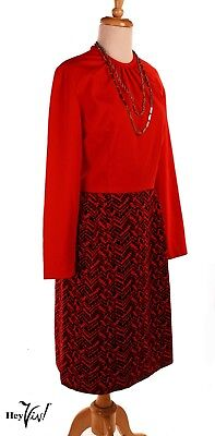 Vintage 80s Red Power Dress - Bold Textured Design - Kenny Classic - M - Hey Viv • 21.22£