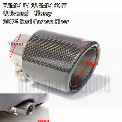 $ CDN42.32 • Buy Curled Single Port 3  Carbon Fiber +Steel Car Exhaust Muffler Pipe Glossy Black