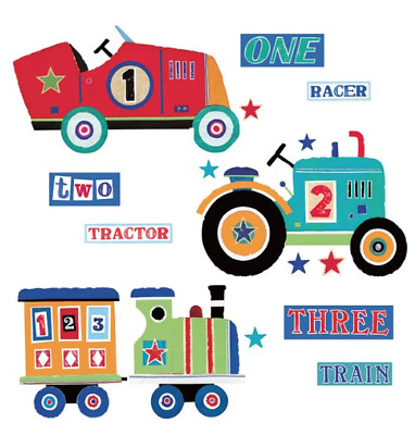 RoomMates Repositionable Childrens Wall Stickers Transport Tractor Train Car XL • 19.99£