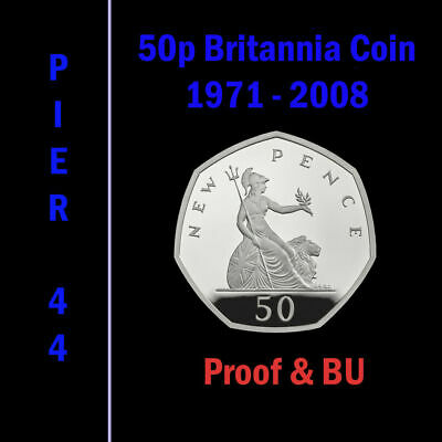 £15.75 • Buy Britannia 50p Fifty Pence Coins 1971-2008 **PROOF & BU ONLY** Select Year