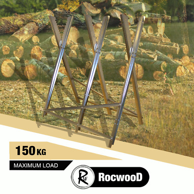 Heavy Duty Chainsaw Metal Saw Horse RocwooD For Sawing Logs Serrated Grip 150KG • 22.99£