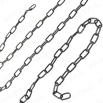 £5.91 • Buy 2M Black Steel Chain Small 3MM X 21MM Industrial Welded Link Hanging Tethering
