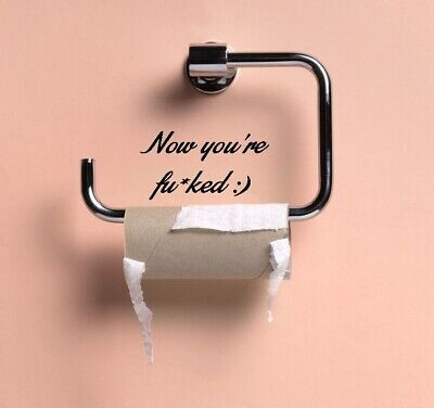 Empty Toilet Roll Now You're Fu*ked Vinyl Sticker Funny Bathroom Wall Art Decal • 1.89£