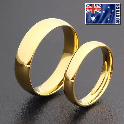 AU8.95 • Buy 14K Gold Plated 4mm 6mm Polished Stainless Steel Wedding Band Ring Mens & Womens
