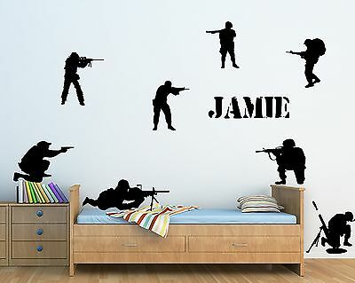 $11.12 • Buy Personalised Kids Army Men Wall Art Sticker - Kids Bedroom Home Decor - Any Name