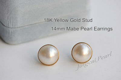 $225.50 • Buy 1 Pair Of 14mm Mabe Pearl Stud Earrings 18K Solid Yellow Gold Perfect Condition