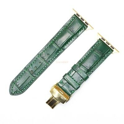 $ CDN47.45 • Buy 42mm/44mm Band Strap Alligator Leather For Apple Watch Series1-4, Green