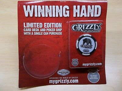 $ CDN8.56 • Buy Grizzly Snuff Chew Playing Cards American Co. Poker Chip Sealed Deck New Card