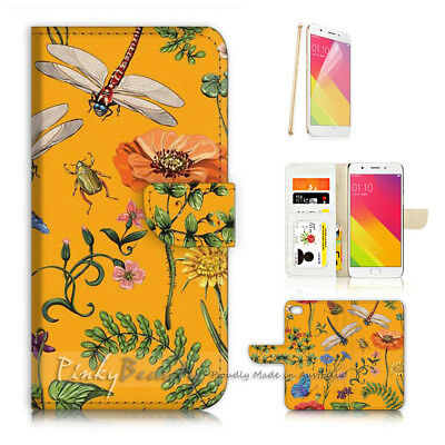 AU12.99 • Buy ( For Oppo A57 ) Wallet Case Cover P21676 Dragonfly Flower