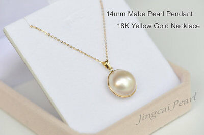 $170.50 • Buy 1 Pc 14mm Mabe Pearl Pendant Necklace 18K Solid Yellow Gold Perfect Condition