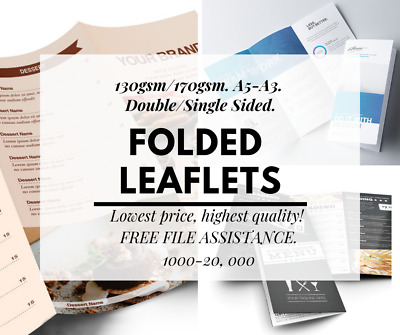 Folded Leaflets Flyers Printing 130-170gsm A5 A4 A3 1000+ Takeaway Menu Business • 189.99£