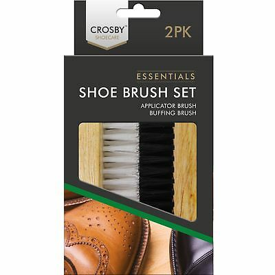 £4.04 • Buy 2pc Traditional Crosby Boot Shoe Brush Polish Buffing Buff Leather Clean