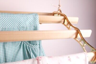 £99 • Buy Vintage Ceiling Hanging Rack Clothes Airer Dryer Pulley Operated 6 Wooden Laths