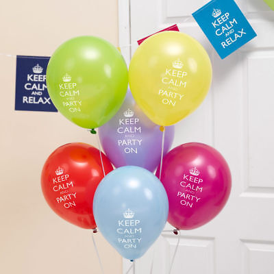 8 X Keep Calm & Party On Latex Balloons Adults Birthday Decoration Supplies • 2.99£