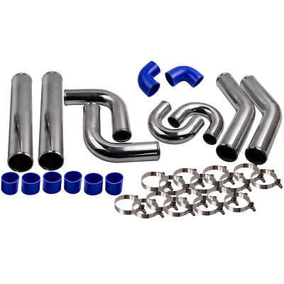 AU182.09 • Buy 3'' 76mm Aluminum Universal Intercooler Turbo Piping Pipe + Blue Hose + T-Clamp