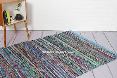 £15.99 • Buy Large Chindi Rag Rug Hand Loomed Indian Fair Trade Recycled Woven Mat 4*6 Ft Rug