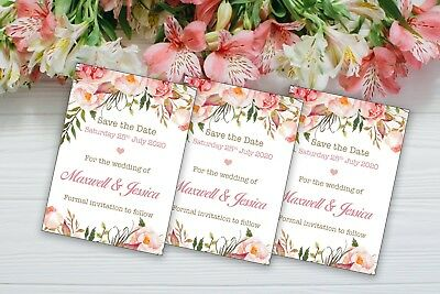 AU9.27 • Buy 10 Personalised Wedding Floral Save The Date Magnets With Envelopes