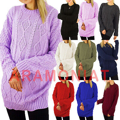 £12.99 • Buy Womens Ladies Cable Knitted Casual Cosy Baggy Jumper Oversized Pullover Top 8-18