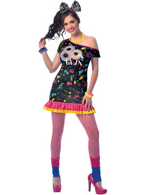 Ladies 80s Girl Costume Adults Retro 1980s Fancy Dress Womens Disco Diva Outfit • 14.99£