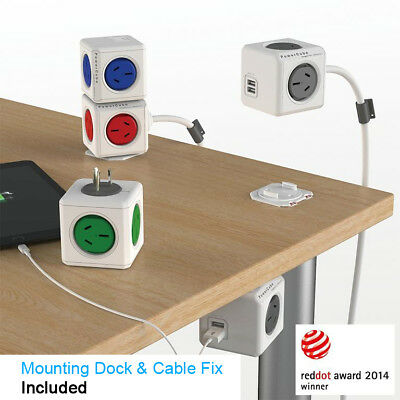 AU39.99 • Buy Allocacoc Powercube Power Cube Board With 2 USB 4 Outlet Extended 3M Surge Lock