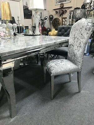 £419.90 • Buy Marble Louis Dining Table 1.5m Wide With Curved Chrome Leg & Chairs Option