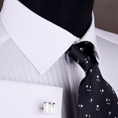 White Formal Business Dress Shirt Double Or Button Cuff Spread Collar Luxury Men • 48.99£