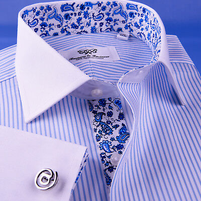 Light Blue Floral Twill Stripe Dress Shirt Formal Business Contrast French Cuff • 48.99£