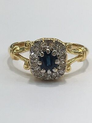 AU750 • Buy 18ct 18k Yellow Gold Natural Blue Sapphire And Diamond Ring | Brand New Instore