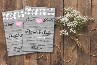 AU9 • Buy 10 Personalised Wedding Save The Date Fridge Magnets With Silver Envelopes