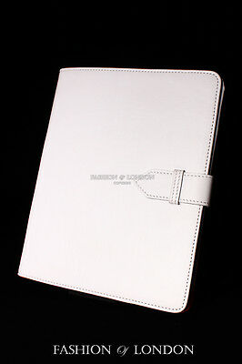 $45.91 • Buy IPad 2 3 & 4 Genuine Real Leather Cover Case Stand Folio (White Soft Lambskin)