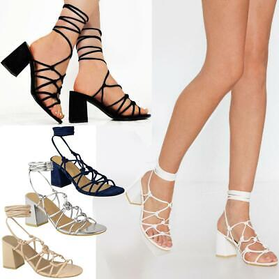 Womens Ladies Mid Low Block Heel Summer Strappy Sandals Ankle Lace Tie Up Shoes • 12.99£