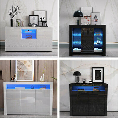 High Gloss Sideboard Cabinet Cupboards  FREE LED Black White With Drawers Doors • 174.99£