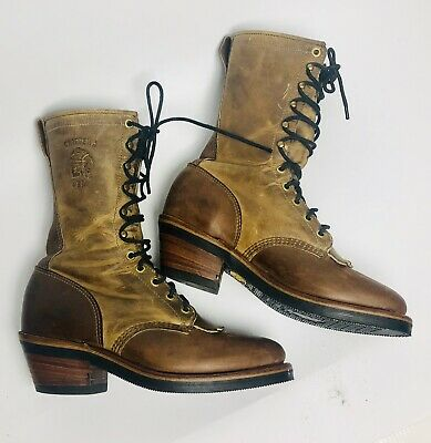 f08fa43f9f2c Women s Chippewa Imperfect Riding Boots Granny Leather Lace Up Tall 6.5  Shoes • 69.99