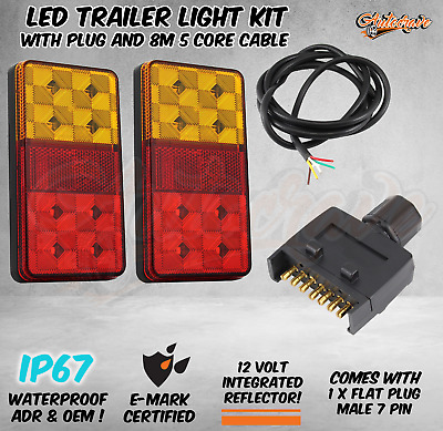 AU39.95 • Buy LED TRAILER TAIL LIGHT KIT PAIR PLUG 8m 5 CORE WIRE CARAVAN BOAT UTE Waterproof