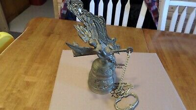 RARE Ornate Brass Bell Original Hanger Wall Mount Pull Chain Angel And Dragon #2 • 104.42£