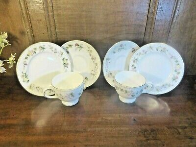 £13.95 • Buy VGC Wedgwood  MIRABELLE  SETS Of 2 TRIOS - Cups, Saucers, Tea Plates