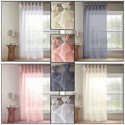 TIARA DOLLY Diamante Voile Net Curtain Ready Made Tab Top Heading Single Panel • 15.99£