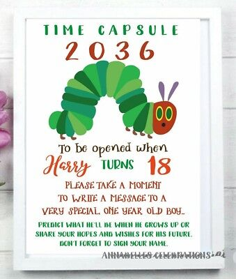 £5.28 • Buy Printable Printable Hungry Caterpillar 1st Birthday Time Capsule Invite First