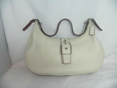 8a73b76ae8 COACH HAMPTON HOBO SATCHEL SHOULDER BAG Clean SOFT CREAM LEATHER  7592 •  22.00