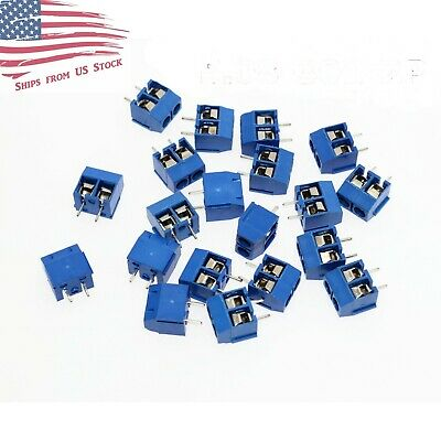 $6.89 • Buy 50 Pcs 2-Pin Screw Terminal Block Connector 5.08mm Pitch PCB Mount Blue 50X US