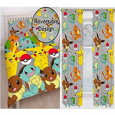 Pokemon Catch Double Duvet Cover And Pillowcase Set + Matching 72  Curtains New • 41.99£